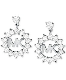 Michael Kors Crystal Logo Drop Earrings