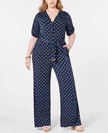 Michael Michael Kors Plus Size Foulard-Print Jumpsuit