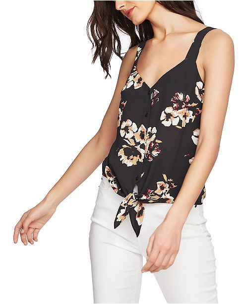 1.STATE Sleeveless Tie-Front Button Down Print Top