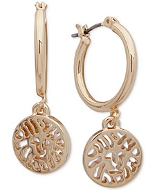 """Medium Gold-Tone Hoop Drop Earrings 1-1/4"""""""