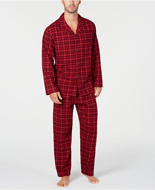 Club Room Men's Red Plaid Flannel Pajamas, Created for Macy's