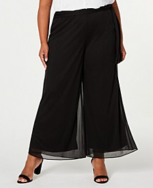 Plus Size Mesh Waist-Tie Pants