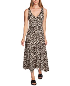 Vince Camuto Leopard-Print V-Neck Maxi Dress
