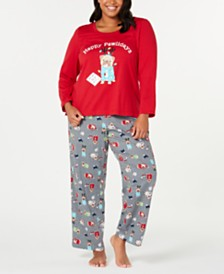 Matching Family Pajamas Plus Size Happy Pawlidays Pajama Set, Created for Macy's