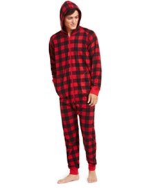 Matching Family Pajamas Men's Buffalo-Check Hooded Pajamas, Created for Macy's