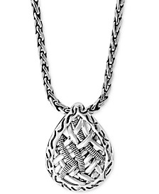"EFFY® Weave-Style Teardrop 18"" Pendant Necklace in Sterling Silver"