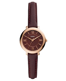 Fossil Women's Mini Jacqueline Fig Leather Strap Watch 26mm