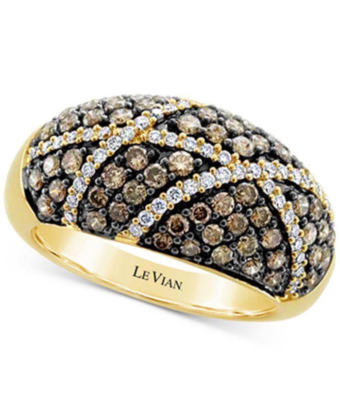Le Vian - Chocolate Diamond (1 ct. t.w.) & Vanilla Diamond (1/4 ct. t.w.) Cluster Statement Ring in 14k Gold