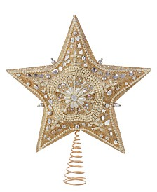 Kurt Adler 13.5 Inch Platinum Star Treetop with Glitter