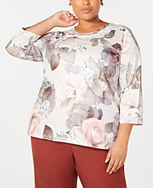 Plus Size Boardroom Printed Lattice-Trim Top