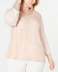 Plus Size Boardroom Lace-Front Top