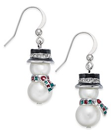 Silver-Tone Crystal & Imitation Pearl Snowman Drop Earrings, Created for Macy's