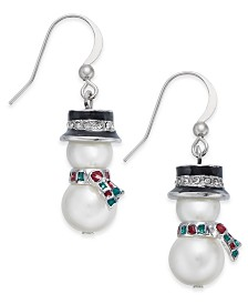 Holiday Lane Silver-Tone Crystal & Imitation Pearl Snowman Drop Earrings, Created for Macy's