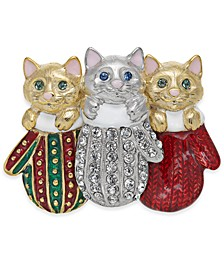 Two-Tone Pavé Kitten Mitten Pin, Created For Macy's