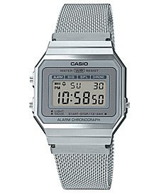 Unisex Digital Stainless Steel Mesh Bracelet Watch 35.5mm
