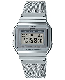 Casio Unisex Digital Stainless Steel Mesh Bracelet Watch 35.5mm