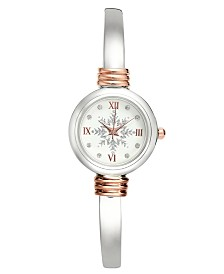Holiday Lane Two-Tone Snowflake Cuff Bracelet Watch 28mm, Created for Macy's