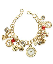 Gold-Tone Charm Bracelet Watch 25mm, Created for Macy's