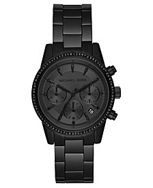 Women's Chronograph Ritz Black Stainless Steel Bracelet Watch 37mm