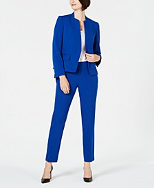 Collarless One-Button Pantsuit