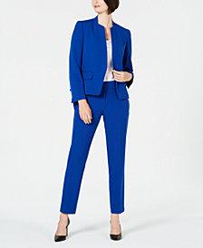 Le Suit Collarless One-Button Pantsuit