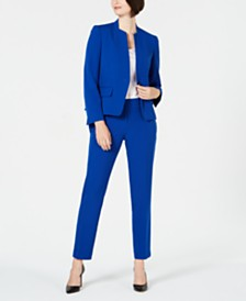 Le Suit Collarless One-Button Pantsuit