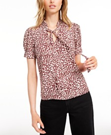 Maison Jules Tie-Neck Leopard Printed Top, Created for Macy's