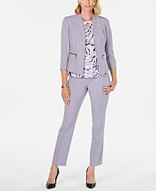 Open-Front Blazer, Printed Top & Ankle Pants