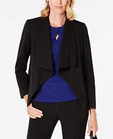 Kasper Open-Front Draped-Lapel Jacket
