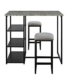 Cabot 3-Piece Pub Set with Faux Concrete Top