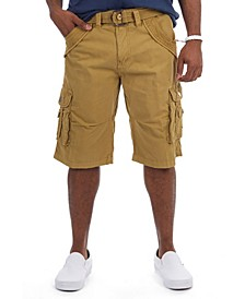 Men's Belted Double Pocket Bermuda Cargo Shorts