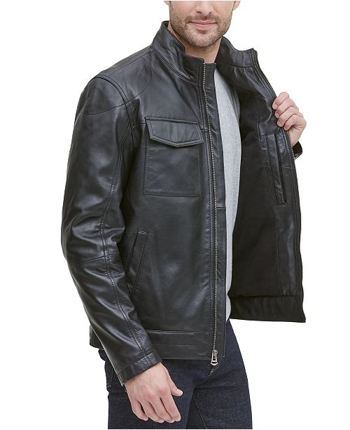Cole Haan Men's Leather Racer Jacket