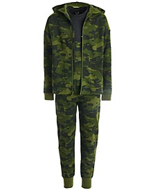 Big Boys Camo-Print Zip-Up Hoodie, Colorblocked T-Shirt & Jogger Pants, Created for Macy's