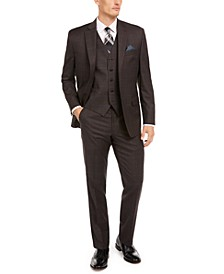 Men's Classic-Fit UltraFlex Stretch Brown/Blue Windowpane Suit Separates