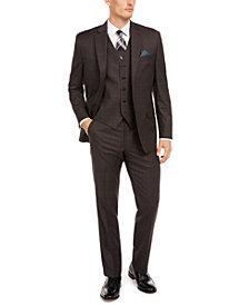 Lauren Ralph Lauren Men's Classic-Fit UltraFlex Stretch Brown/Blue Windowpane Suit Separates