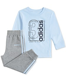 adidas Baby Boys 2-Pc. Cotton T-Shirt & Jogger Pants Set