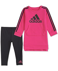 adidas Baby Girls 2-Pc. French Terry Dress & Leggings Set