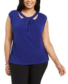 Kasper Plus Size Twist-Neck Top