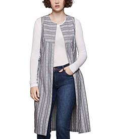 Cotton Striped Chambray Vest
