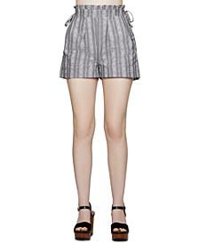 Cotton Striped Paperbag-Waist Shorts