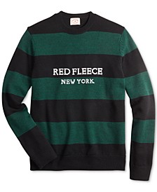 Men's Red Fleece Regular-Fit Striped Sweater