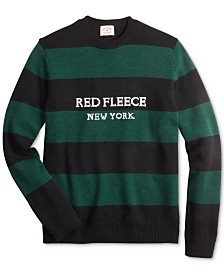 Brooks Brothers Men's Red Fleece Regular-Fit Striped Sweater