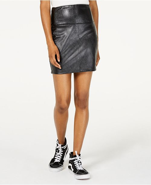 Love, Fire Topson Faux-Leather Mini Skirt