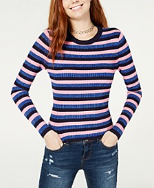 Juniors' Shine Striped Rib-Knit Sweater