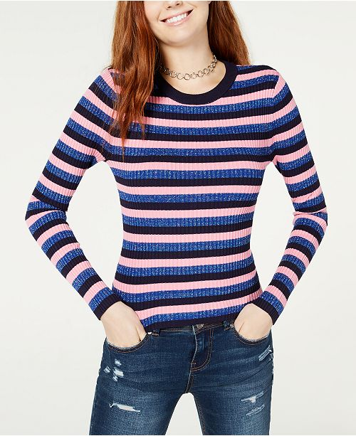 Hooked Up by IOT Juniors' Shine Striped Rib-Knit Sweater