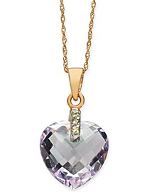 """Pink Amethyst (5-3/8 ct. t.w.) & Diamond Accent Heart 18"""" Pendant Necklace in 14k Rose Gold"""