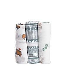 Bison Cotton Muslin 3-Pack Swaddle Blanket Set