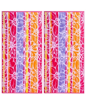 Image of American Dawn Floral Medley Double Velour Jacquard Beach Towel 2 Piece Set Bedding