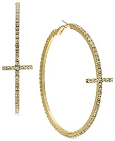 Gold-Tone Crystal Cross Hoop Earrings, Created for Macy's