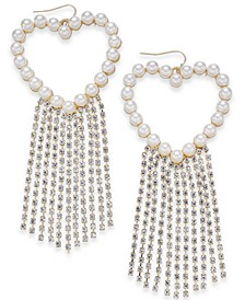 Gold Imitation Pearl Heart & Crystal Fringe Drop Earrings, Created for Macy's